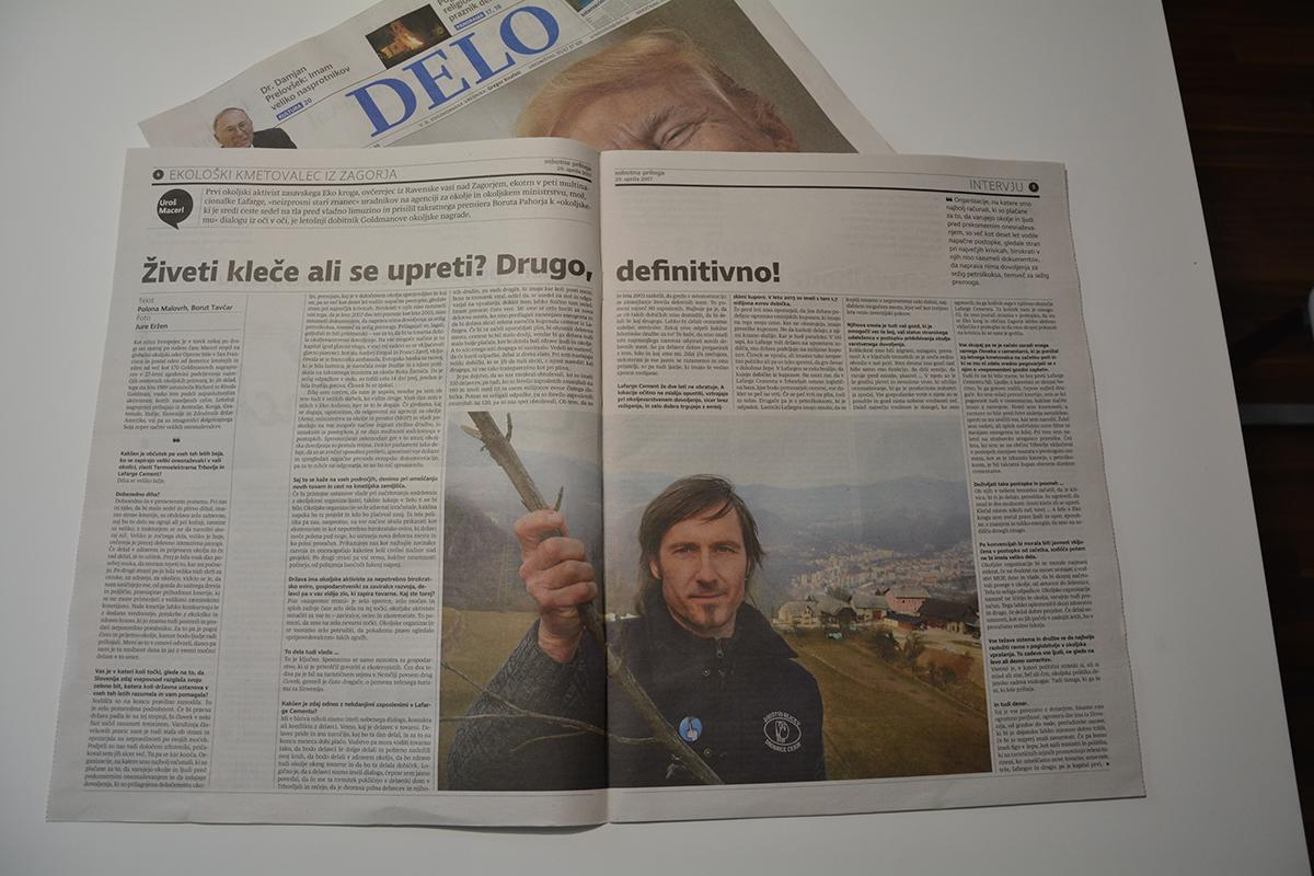 Saturday supplement of daily Delo published interview with Uroš