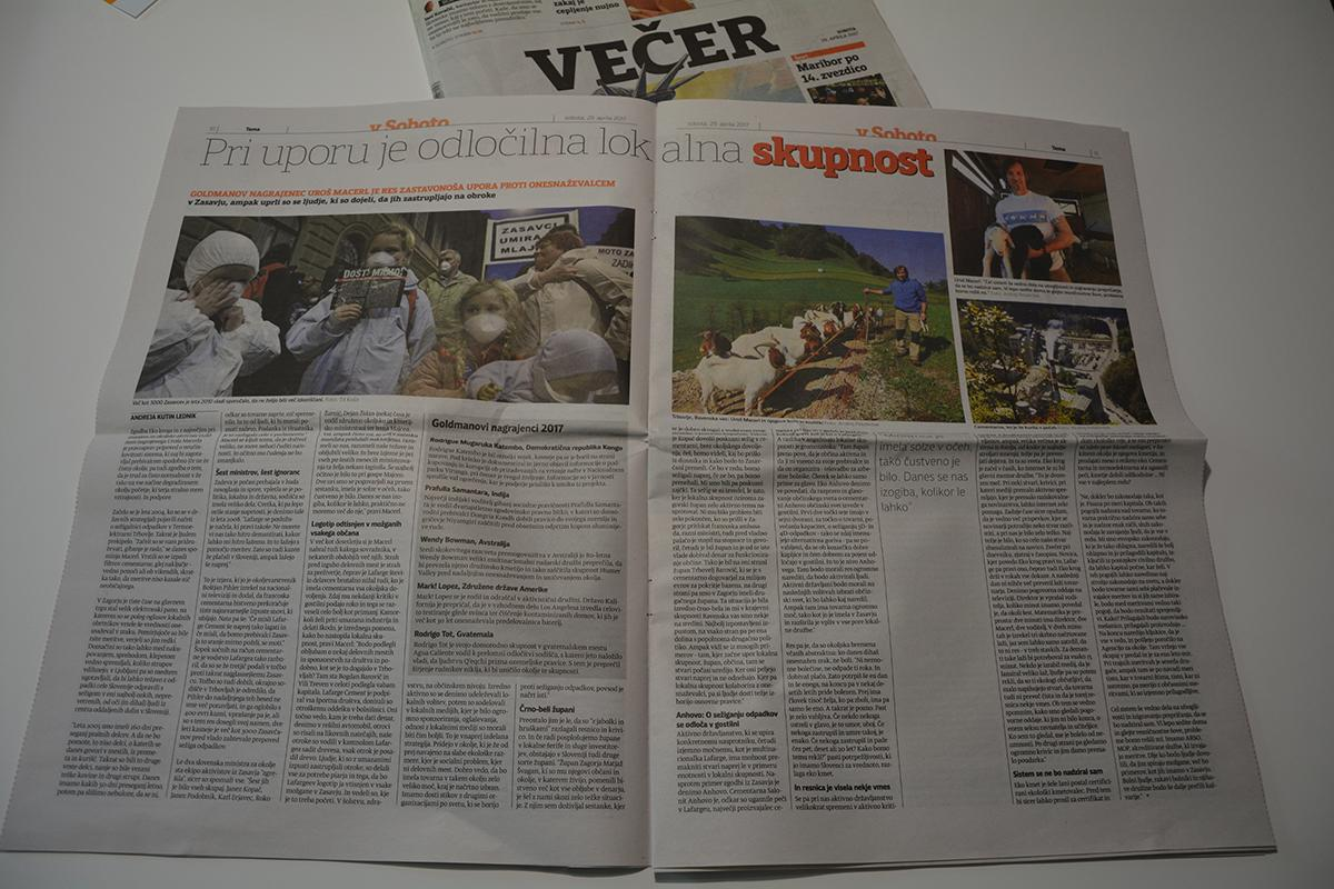 Večer published two page article about Uroš, Lafarge story and Goldman Environmental prize.