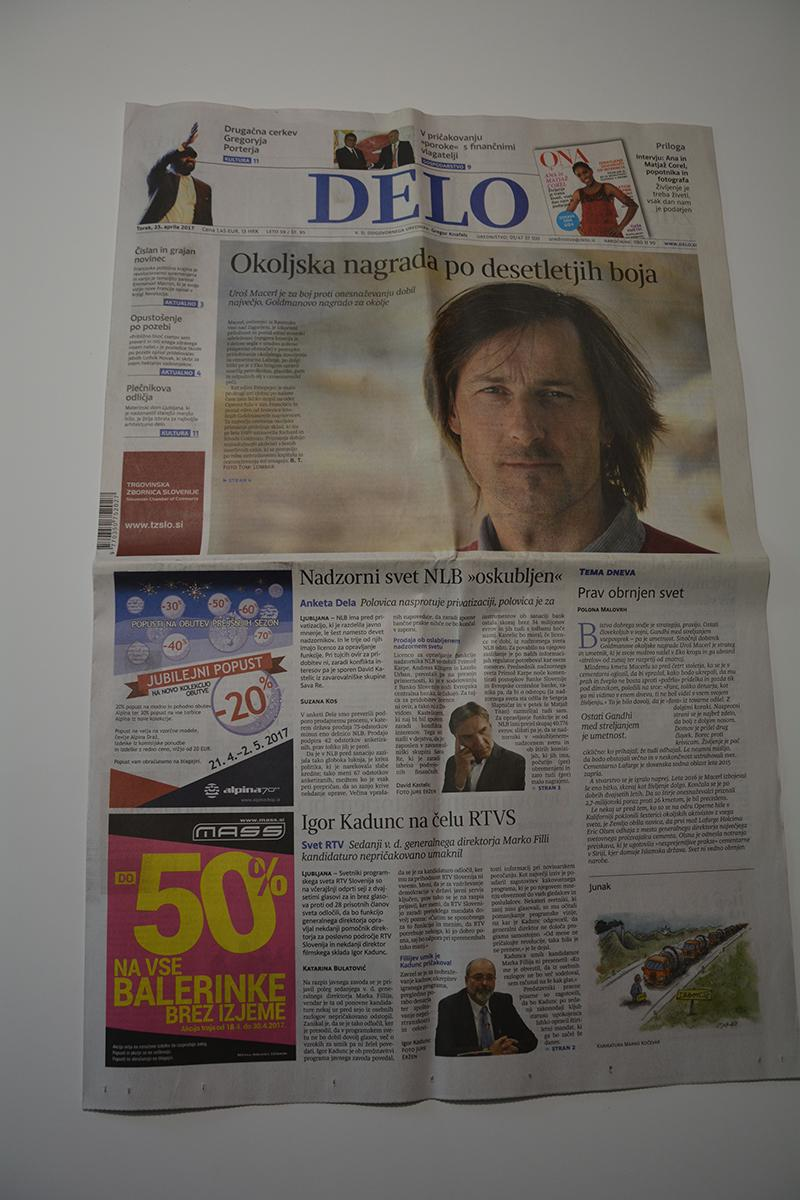 Main news on the front of the page in Delo daily